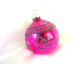 Vintage Shiny Brite Christmas Ornament - Hot Pink with Geometric Black Mica Diamonds Ornament