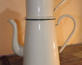 Large Vintage French Enamel Coffee Pot,Rustic,Country kitchen,Decoration,Flower Pot