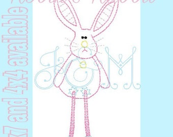 Robin's Rabbit Vintage Stitch Bean Stitch Quick Stitch Rabbit Easter Bunny Embroidery Design