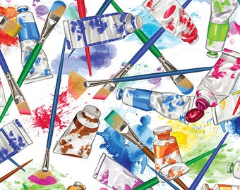 All About Color from Kanvas Studios - Full or Half Yard Let's Paint White - Tossed Paint Brushes and Paint Tubes on White