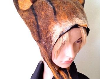 Tabby Cat Inspired Animal Hat Hand Felted wool hat for cosplay, anime, festival wear, fancy dress Winter ski hat womens hat mens hat