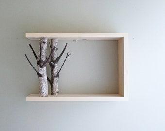 white birch forest wall art/shelf - 18x12, birch branch, framed birch art, floating shelves, display shelves, shadow box