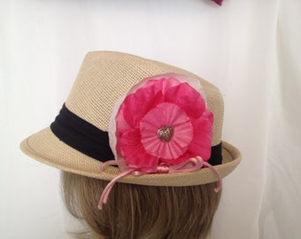 Sweetheart Pink and White Flower Hair Accessory