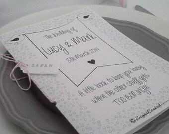 Personalised Wedding keepsake activity book.