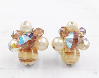 Vintage Cluster Earrings Signed Vendome with Art Glass Beads Crystals with Clip On Backs