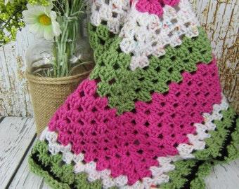 Crochet Baby Blanket, pink white green, crochet baby girl blanket, granny square blanket, watermelon blanket, baby shower girl gift