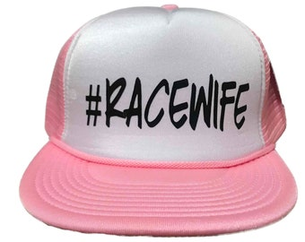 RACEWIFE Trucker Style Flat Bill Snapback Hat ( Choose Colors)