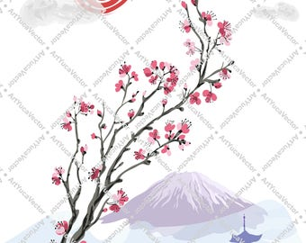 Spring Season / Art vector / Realistic sakura blossom branch on the background of Mount Fuji