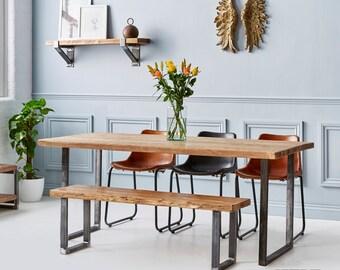 Industrial Reclaimed Wood - U Base Dining Table