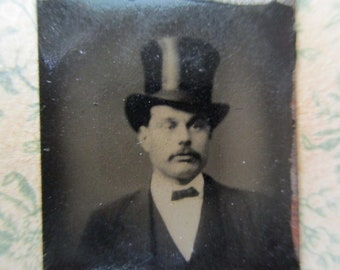 antique miniature gem tintype photo - 1800s, man with top hat