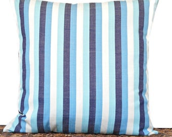 Blue Stripe Pillow Cover Cushion Turquoise White Navy Coastal Seaside Repurposed Decorative 18x18