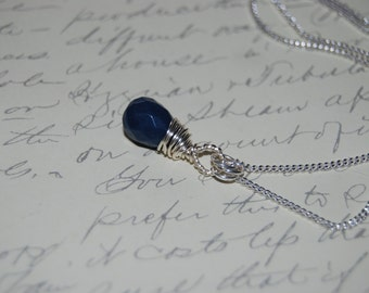 Navy Blue  Quartzite Stone Artistic  Wire Wrap Necklace .