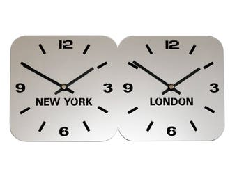 Roco Verre Silver Acrylic World Timezone Wall Clocks