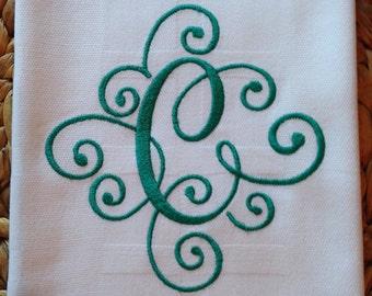 Elegant Scroll Monogram - Whim - Bamboo - Designer Kitchen Bamboo/Cotton 20x30 Hand Towel