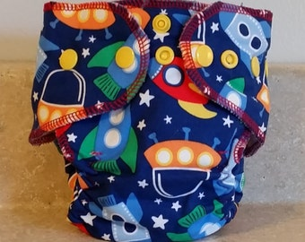 Fitted Preemie Newborn Cloth Diaper- 4 to 9 pounds- Spaceships- 16031