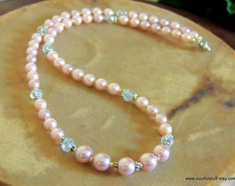 Rose Pink Pearl Necklace