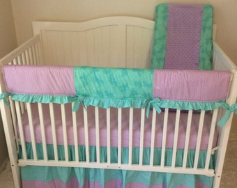 Baby Girl Crib Bedding Set Lavender and Teal Floral and Polka Dots