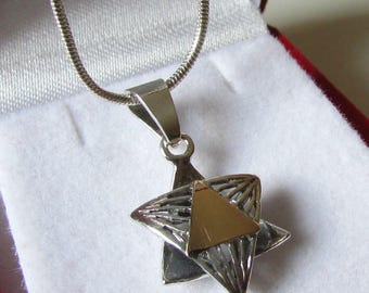 Jewish jewelry, Magen david necklace, Silver gold jewish star, Star of david Necklace, Jewish star necklace