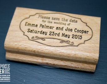 Save the Date Invitation Stamp - Personalised save the date announcement stamp, newly engaged, custom rubber wedding keepsake stamp