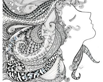 "Zentangle Inspired Art ""These Three Abide"" Wood Mounted Laminate"