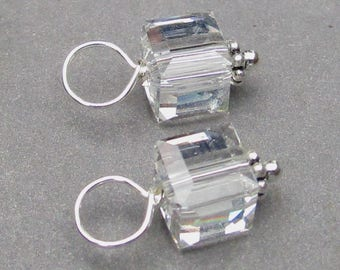 Swarovski Clear Crystal Cube Charms, Necklace Charms, Bead Dangles, Birthstone Charms, Interchangeable Earring Charms, Bracelet Charms