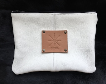 Deer Hide Leather Pouch:  All White