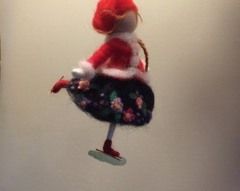 "Needle felted doll, Waldorf inspired, Wool Fairy ""On skates"", Doll miniature, Art doll, Christmas ornament, Gift"