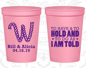 Wedding Stadium Cups, Wedding Cups, Plastic Cups, Stadium Cups, Personalized Cups, Personalized Stadium Cups, Monogram Wedding Cups (C49)