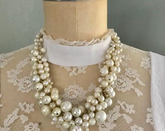 Elegant Handmade Pearly Beaded Necklace