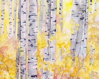 "Birch Trees Painting - Print from my Original Watercolor Painting,""The Golden Wood"", Autumn Decor, Fall Decor, Fall, Birch Tree, Fall Leaves"