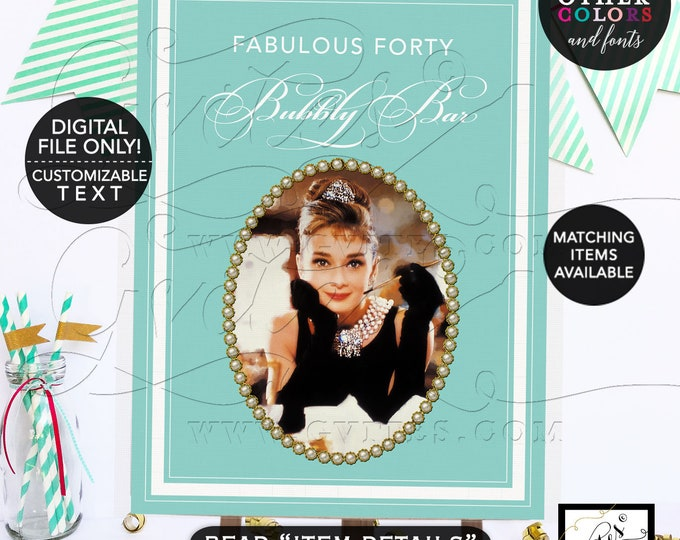 Audrey Hepburn Poster Signs - Fabulous Forty Table Dessert Cake Backdrop. Breakfast at blue themed, Adult birthday, gold. PRINTABLE