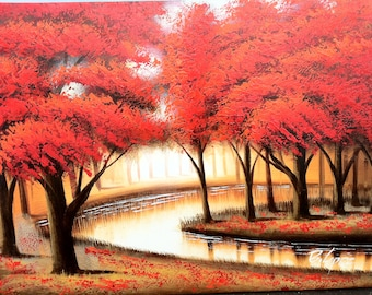 """RED FORREST RIVER - Original Oil Painting - 24"""" x 36"""" Mounted"""