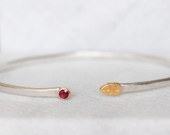 Ruby Leaf Cuff- Sapphire OR Ruby Open Cuff - Sterling and 18k Gold - Leaf and Bud Cuff