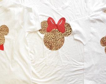 BABY/CHILD Cheetah Minnie or Mickey Shirt, Animal Kingdom Shirt, Disney Shirt, Family Shirt, Mommy and Me Shirt