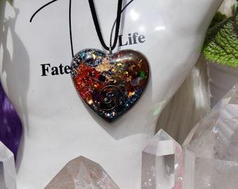 Orgonite® - Orgonite® Pendant - Heart - Necklace - Handmade - Orgone Generator® - Crystals - Gift - EMF Protection - HoodXHippie