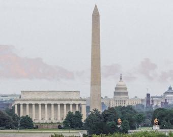 Washington DC Photography, US Capitol - Washington Monument - Lincoln Memorial, District of Columbia, Washington DC Skyline, Office Art