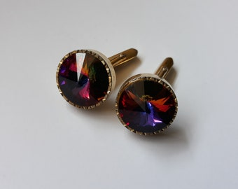 Vintage cufflinks  gold metal with rainbow cut glass centre, retro