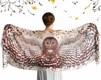 Hippie Clothes, Burning Man Clothing, Owl Scarf, Women Gift, Wing Scarf, Wedding Gift, Gift For Her, Animal Scarf, Owl Clothing, Mom Gift