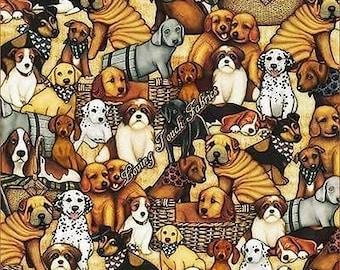It's a Ruff Life from Quilting Treasures - Full or Half Yard Packed Dogs on Tan