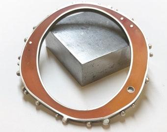 Funky Resin Silver Bangle Bracelet Reversible Green Orange Giant Oval Pendant