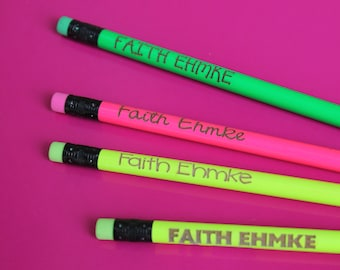 Set of 4 Personalized Pencils - Personalized Pencils, Custom Pencils, Engraved Pencils, Personalized Pencils for Kids, Cute girly --6017