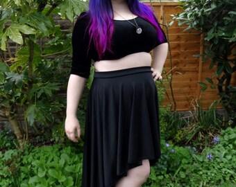 Shadow - dipped high low hem skirt made from lightweight jersey, scuba or velvet