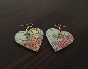 Vintage map dangle earrings