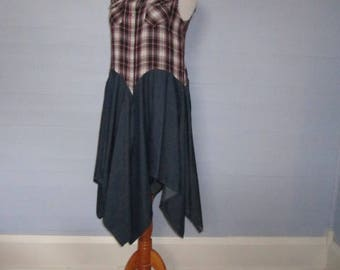 S-M-L GYPSY COWGIRL Duster Jacket / Plaid and Denim / Gypsy Duster / Upcycled / Boho Chic / Upcyced Plus Size / Ladies Western / Shabby Chic