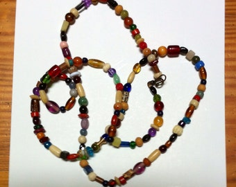 Long wrap assorted beads necklace