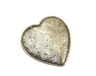 Vintage Heart Shape Etched Floral Design Pendant 925 Sterling Silver PD 451