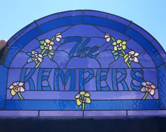 Stained Glass Window Panel Name Sign