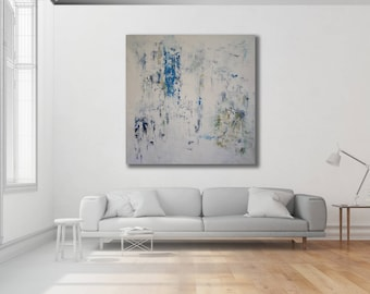 Blue and White Abstract Painting / Original Art / Modern Art / Contemporary Art / White Painting