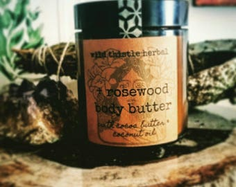 Rosewood Body Butter with organic  cocoa butter and coconut oil. Vegan