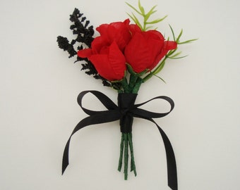 Red Mini Roses Boutonniere with Black Accents, Silk Wedding Flowers, Groomsmen Lapel Pin, Mens Buttonhole flower, FFT design, Made to order